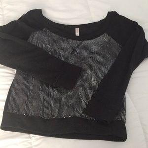 Black Silver Sequins Bling Crew Sweatshirt